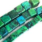 Natural Chrysocolla Cube Beads 15 , pick your size.
