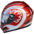 LEOPARD LEO-818 Full Face Scooter Motorcycle Motorbike Crash Helmet Red Graphic