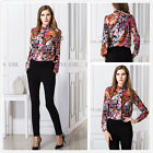 Vintage Womens Summer Casual Chiffon Flower Collar Tops Long Sleeve Shirt Blouse