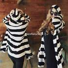 NEW Women's Knit Kintwear Coat Loose Striped Long Cardigan Hooded Hoodie Top