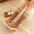 Gladiator Flats US4-11 Warm womens knee high boots fur lace up winter flats snow