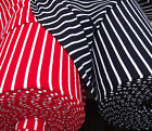 "Vintage dress making fabric samples 12"" square STRIPED red navy blue Courtelle"