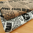 "per 1/2 metre newspaper effect printed fabric 44"" (112cm) wide 100% cotton"