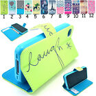 For iPhone 4 5 5S Cover Samsung S3 S4 S5 Mini Case Wallet Flip Stand Leather New