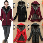 Winter Women's Thick Velvet Hooded Coat Pullover Jacket Warm Slim Long Hoodie