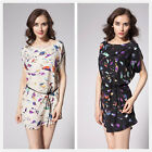 New Womens Summer Beach Chiffon Birds Printing Batwing Sleeve Loose Dress Skirt
