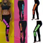 Sexy Womens Ladies WORK OUT Printed Dope Leggings Slogan Bottoms Jeggings Pants