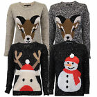 Ladies Christmas Jumpers Xmas Womens Reindeer Novelty Snowman Cable Knit Winter