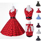 50s 60s Pinup Rockabilly Vintage Polka Dots Cotton Dress Swing Full Skirt Dress