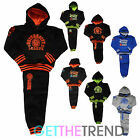 Boys Kids Fleece Hooded Tracksuit University Varsity Black Trackie Top Jog Suit