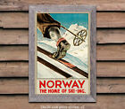 Norway - Home of Ski-ing - Vintage Travel Poster [6 sizes, matte+glossy avail]