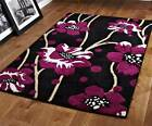 Black and Purple Rug Stunning Floral Flower Pattern Large Rug Heavy Domestic