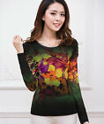 Elegant Women Round Neck Flower Mesh Blouse Tops Delicate Long Sleeve Tee Shirts