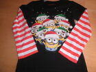 New Girls Despicable Me Christmas Minion Long sleeve T Shirt size XS S M L XL