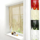 VOILE TIE BLIND - PLAIN TIED NET CURTAIN SLOT TOP PANEL - MANY COLOURS AVAILABLE