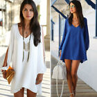 Women Sexy V-neck Long Sleeve Chiffon Summer Beach Mini Party Cocktail Sun Dress