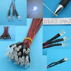 3V 6V 9V 12V pre-wired LED light 3mm 5mm 0603 SMD colorful RGB 20cm line