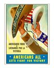 Americans All - Fight for Victory - Reproduction WWII US Propaganda Poster ww2
