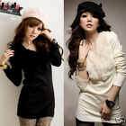 Living Up Women V-Neck Long Sleeves Slim Fit Fur Collar Tops Shirt Blouses EWUK