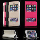 For Apple iPhone 6 View Window Flip Magnetic PU Leather Case Cover Masione New