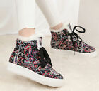 womens warm inside snow outerdoor boots ankle Printed lace Up high top sneakers