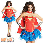 Sexy Wonder Woman Corset Fancy Dress Ladies Superhero Womens Costume UK 6-14