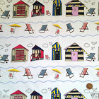 "per 1/2 metre/ FQ 100 % cotton seaside beach huts & deck chairs  44""wide ivory"