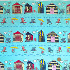 "per 1/2 metre/ FQ 100 % cotton seaside beach huts & deck chairs  44""wide aqua"
