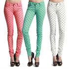 TheMogan Heart Polka Dot Printed COLORED SKINNY JEANS Denim Slim Trouser Pants