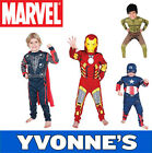 Boys Super Hero Kids Fancy Dress Superhero Costume Spiderman Captain America Ect