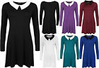 New Womens Long Sleeve Plain Collar Ladies Flared Short Swing Dress Top 8-14