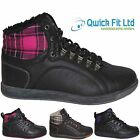 NEW LADIES HI HIGH TOP TRAINERS LACE UP FLAT PUMPS BLACK SHOES FUR BOOTS SIZES