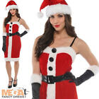 Ladies Jolly Holly Miss Santa Christmas Fancy Dress Costume Outfit + Hat UK 8-16