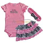 3pcs pink Newborn Infant Baby Girl Headband+Romper+TUTU Outfit Clothes 9-24M