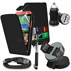 6 in 1 Accessory Pack PU Leather Flip Case Cover For HTC Desire 610