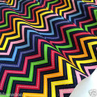 per 1/2 metre/FQ ZIG ZAG navy blue craft / dressmaking fabric 100% COTTON