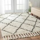 nuLOOM Hand-knotted Moroccan Trellis Natural Shag Wool Rug (4' x 6')