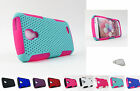for LG Access L31G LTE & F70 | Rubberized Mesh Hard/Soft Case Cover+PryTool