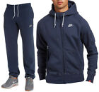 NIKE FOUNDATION TRACKSUIT FLEECE HOODY AND JOGGERS BOTTOMS PANTS NAVY