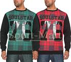 Mens Soulstar Check Tartan PU Print Crew Neck Sweatshirt Long Sleeve Jumper Size