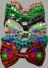 Light Up LED Flashing Blinking Sequin Bowtie Hair Bow Tie Hairbow Accessory
