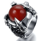 Mens Stainless Steel Ring, Vintage, Biker, Silver, Red Crystal, Claw KR1848