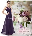 BNWT EMILY Aubergine Purple Chiffon Maxi  Evening Bridesmaid Dress UK 6 - 18