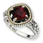 Garnet Antiqued Ring Sterling Silver & 14K Gold Accent Size 6 - 8 Shey Couture