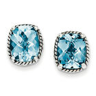 Swiss Blue Topaz Earrings .925 Sterling Silver Antiqued Push Back Shey Couture