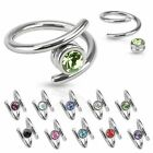 Twist Crystal Gem Cartilage Helix Earring Lip Navel Ring Barbell 16GA 1.2mm -8mm
