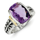 Amethyst Cushion Cut Ring Sterling Silver & Gold Accent Sz 6 - 8 Shey Couture