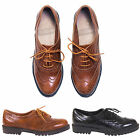 WOMENS LADIES CASUAL FORMAL CHUNKY LACE UP BROGUE OFFICE SMART TAN SHOES SIZE
