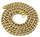"26-28"" 10mm 10k Yellow Real Gold Hollow Diamond Cut Miami Cuban Chain Mens"