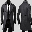 British Style Mens Long Trench Coat Windbreaker Spring Jackets Overcoat Outwear